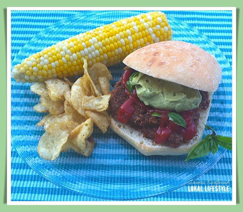 All Vegan Summer Meal: Veggie Burger with Kettle Brand Chips and Boiled Corn