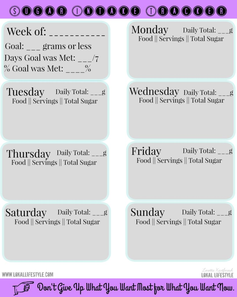 You could also download, save, and print the Sugar Intake Tracker that I created. This is a more organized way of tracking sugar.