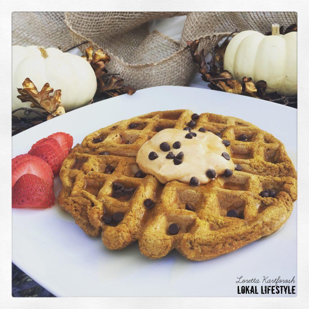 pumpkin spice vegan waffle